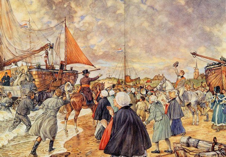 Aankomst van Willem I te #Scheveningen, 1813   #Schoolplaat #Isings