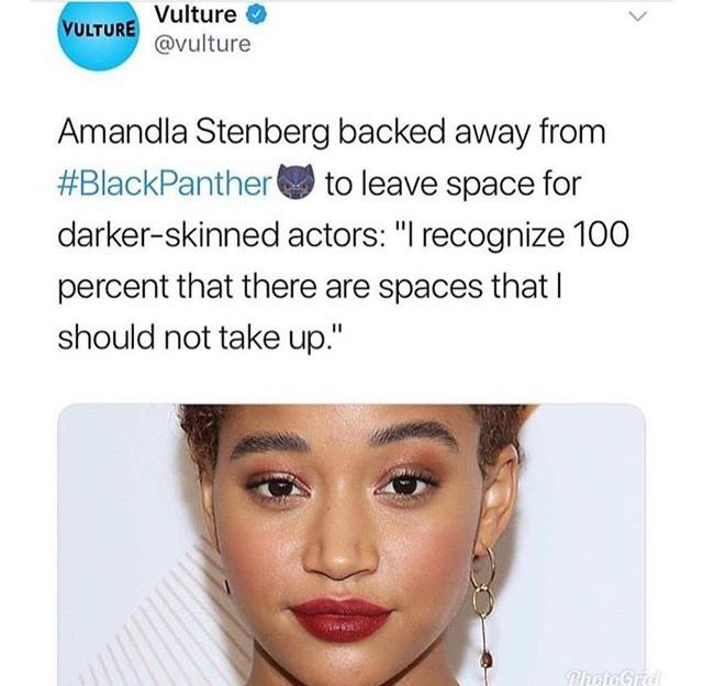 I appreciate her candor but there were light skinned actresses in the films so kinda a missed opportunity for her.
