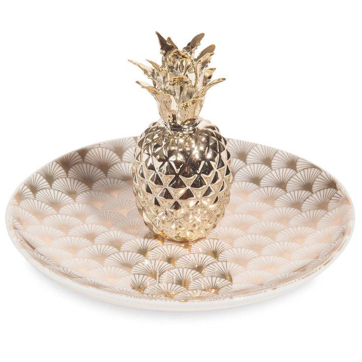 Coupelle à bijoux ananas en porcelaine dorée MILORD