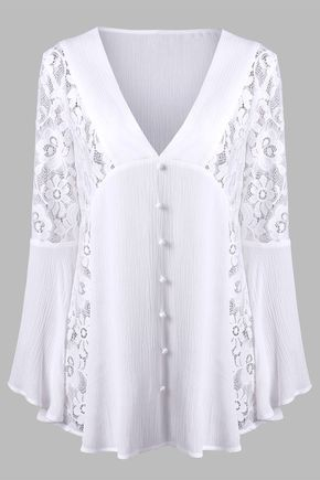 $20.75 Lace Insert Flare Sleeve Crinkle Blouse - White