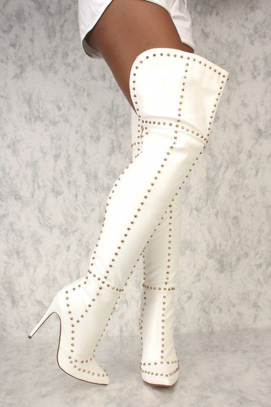 Sexy White Studded Accent Thigh High Boots Faux Leather  3b4bb4abf6