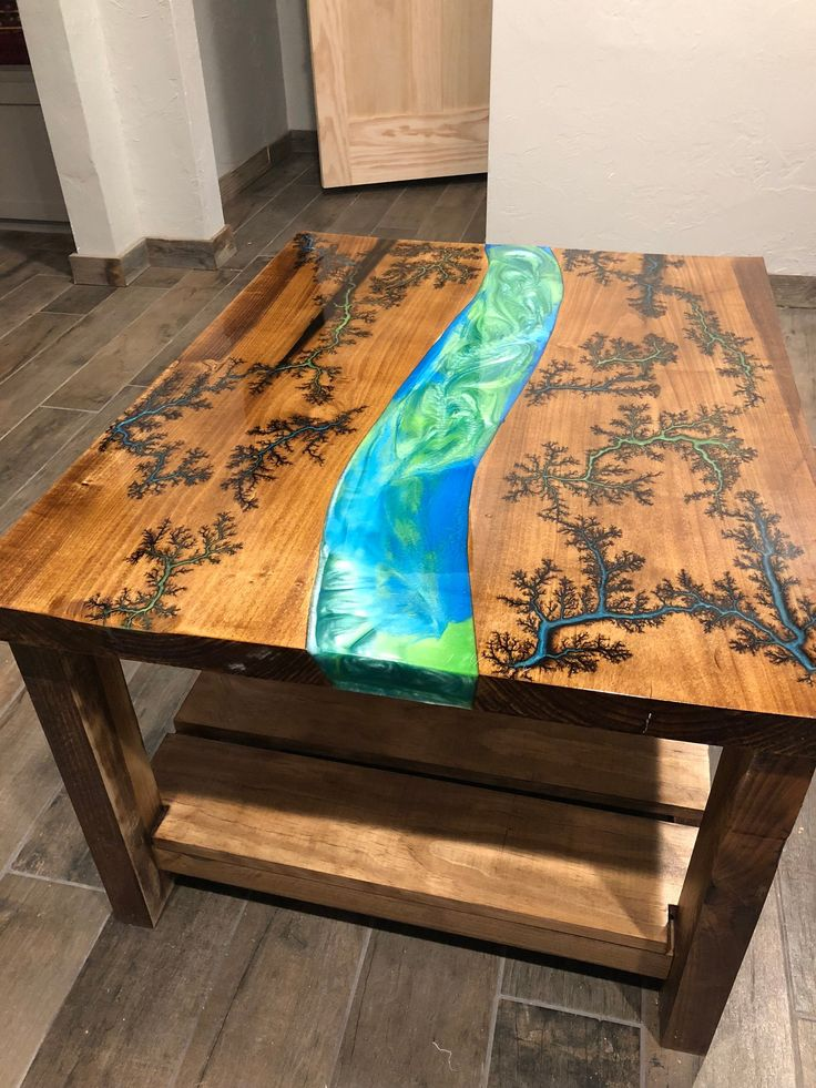 Fractal Burn River Coffee Table In 2019 Wood Resin Table