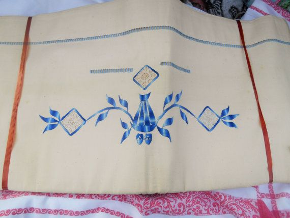 Gorgeous Art Deco French Linen Flat Sheets with Blue Embroidered Medallion and cut ladder work.  Off White Linen fabric for a 2 persons bed. 85 X 112 in. (216 x 284.5 cm) U... #antiquelinen #victorian #frenchlinen #vintage #damask