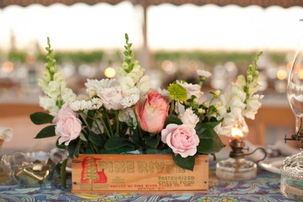 Floral centrepiece: Oil Lamps, Rustic Tables, Wooden Boxes, Floral Arrangements, Boxes Centerpieces, Wood Crates, Wedding Flower Crates, Wedding Centerpieces, Flower Boxes