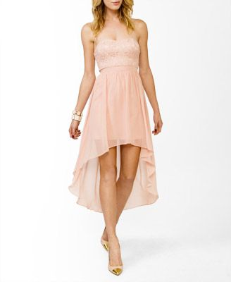 Tight tube dress with flowing high low bottom, in pale pink. So trendy! Going to purchase one of these soon.