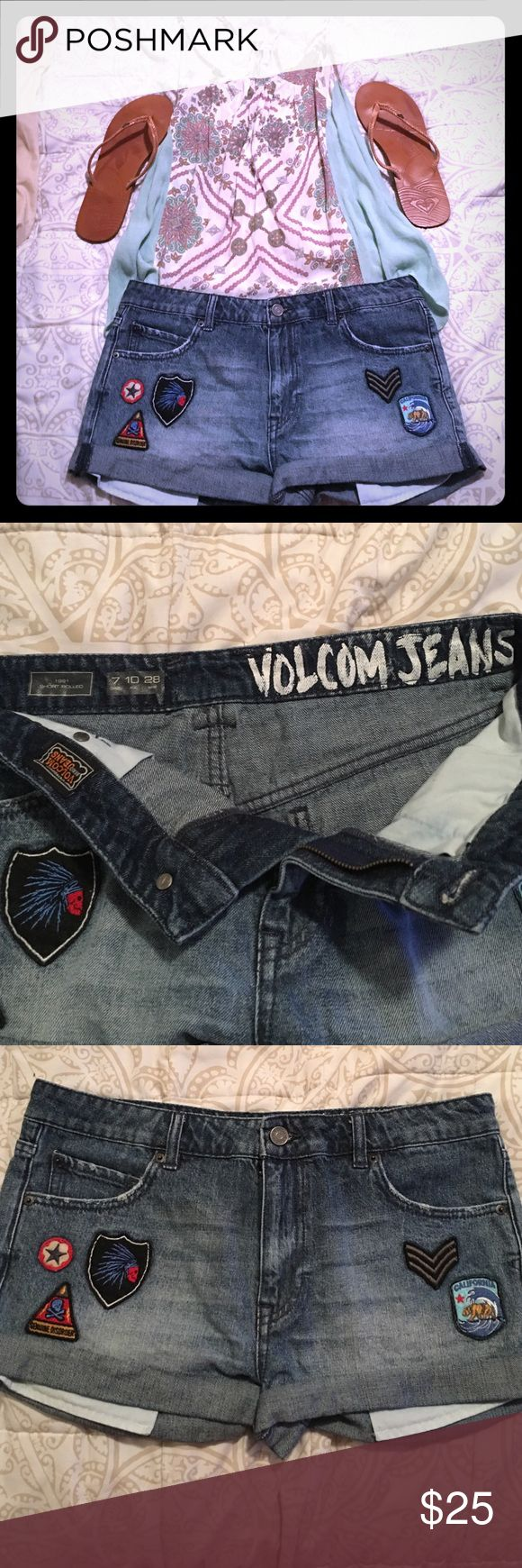 *NWOT Volcom Women's / Juniors Shorts with patches Never worn. Size 7. Great condition. Goes great with everything but can be bundled with any of the items listed. EVERYTHING MUST GO! Make an offer or make a bundle! We accept 95% of first offers with no back and forth haggling. Volcom Shorts Jean Shorts