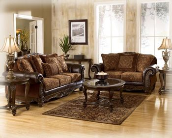 Francesca Sofa Leather and Tapestry Fabric Ashley Furniture