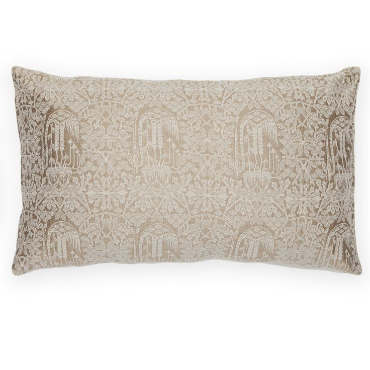Forest rectangle, Platinum gold&white | silk brocade cushions | Shop | Klaus Haapaniemi