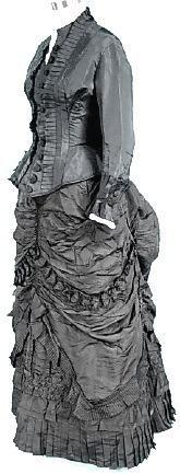 c. 1882 Black Silk Taffeta Bustle Gown