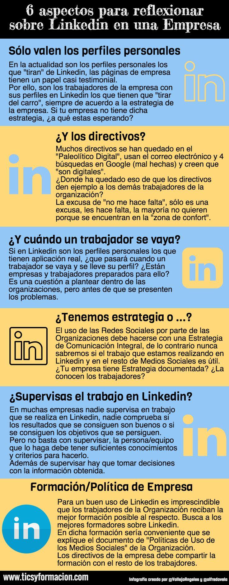 6 aspectos para reflexionar sobre Linkedin en una Empresa. #infografia