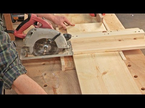 """I built a simple crosscutting jig for use with a circular saw. It's easy to build, and consists of just one 2' by 2' by 1/2"""" piece of plywood and a small par..."""