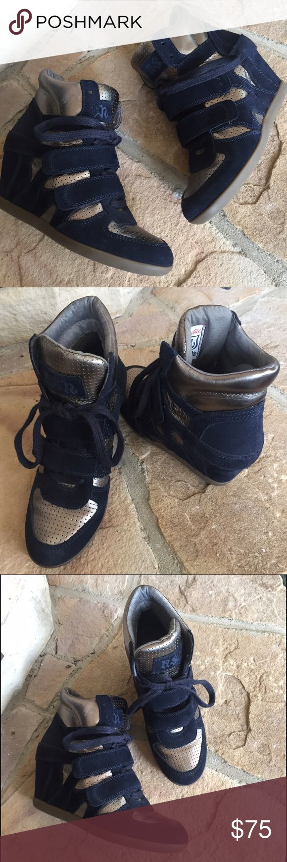 Ash 'Bowie' Wedge Sneaker Navy and Silver Preowned in great condition. Only worn a few times. Navy suede and silver. Hidden wedge heel. Made in the UK. Purchased at Nordstrom. Euro Size 37 = best fits 6.5-7 US. Retail $249.95 Ash Shoes Athletic Shoes