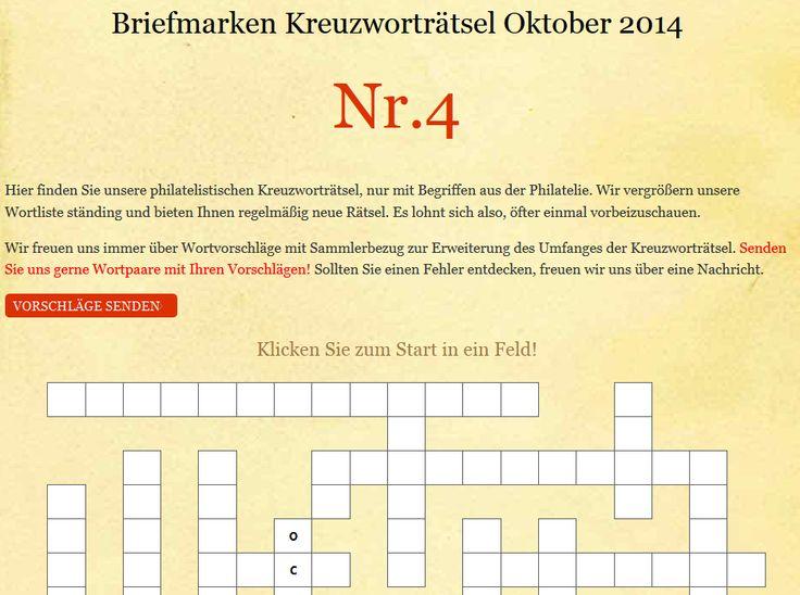 Philatelistisches Kreuzworträtsel Nr. 4 -  Oktober http://briefmarken-spezial.de/kreuzwortraetsel-f%C3%BCr-sammler-briefmarkensammler