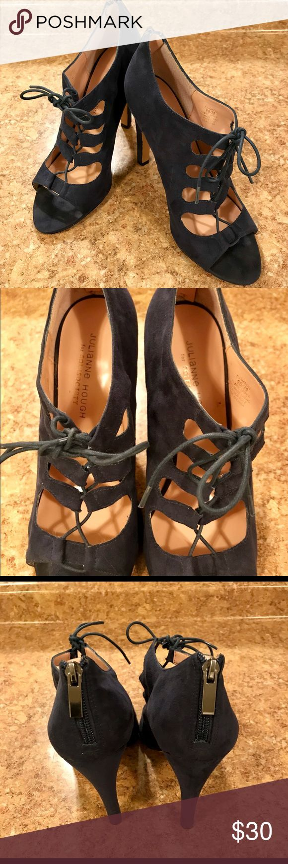 "Julianne Hough ""Mandee"" Heels Blue suede heels with lace up detail. Around a 4 inch heel with some marks on suede and the bottom of the heels. Sole Society Shoes Heels"