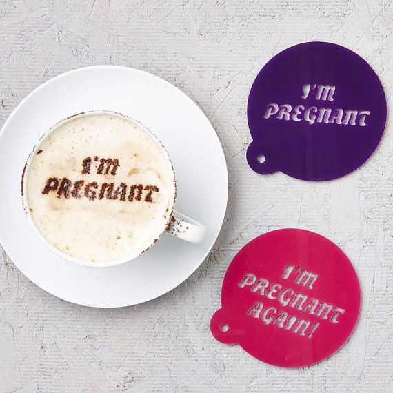 Pregnancy Announcement Coffee Stencil by SophiaVictoriaJoy on Etsy ................ THAT would be hilarious to use on a husband, grandparents, and friends :)