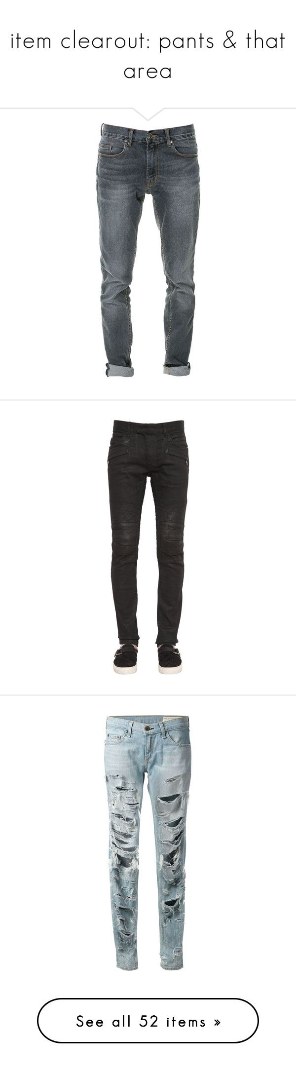 """""""item clearout: pants & that area"""" by likedeadroses ❤ liked on Polyvore featuring men's fashion, men's clothing, men's jeans, grey, mens gray jeans, zara mens jeans, mens grey jeans, black, mens jeans and balmain men's jeans"""