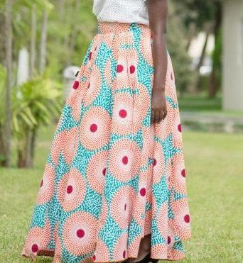 Ankara Gathered Skirt, African Print  Maxi Skirt