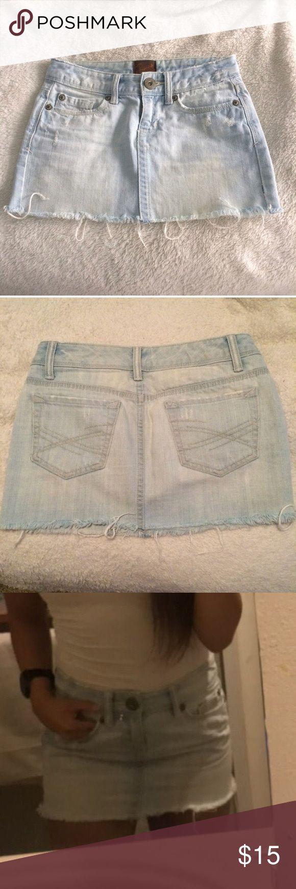Denim mini skirt Very cute tight denim mini skirt, it is flattering on. Size 0. Aeropostale Skirts Mini