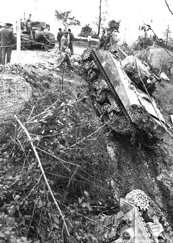 The Moro Valley - The terrain in the vicinity of the Moro River fighting added difficulties for the assaulting troops. Brigadier Wyman noted in his scrapbook that these tanks had been driven off the road by mortar fire.