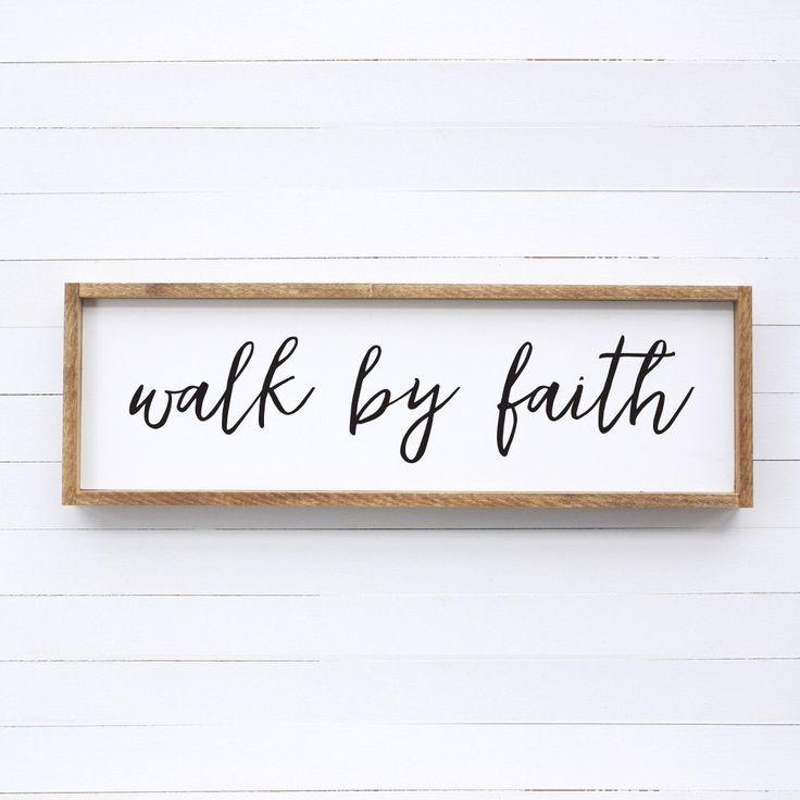 Walk by Faith Wood Sign by dahliadesigncompany on Etsy https://www.etsy.com/listing/488789907/walk-by-faith-wood-sign