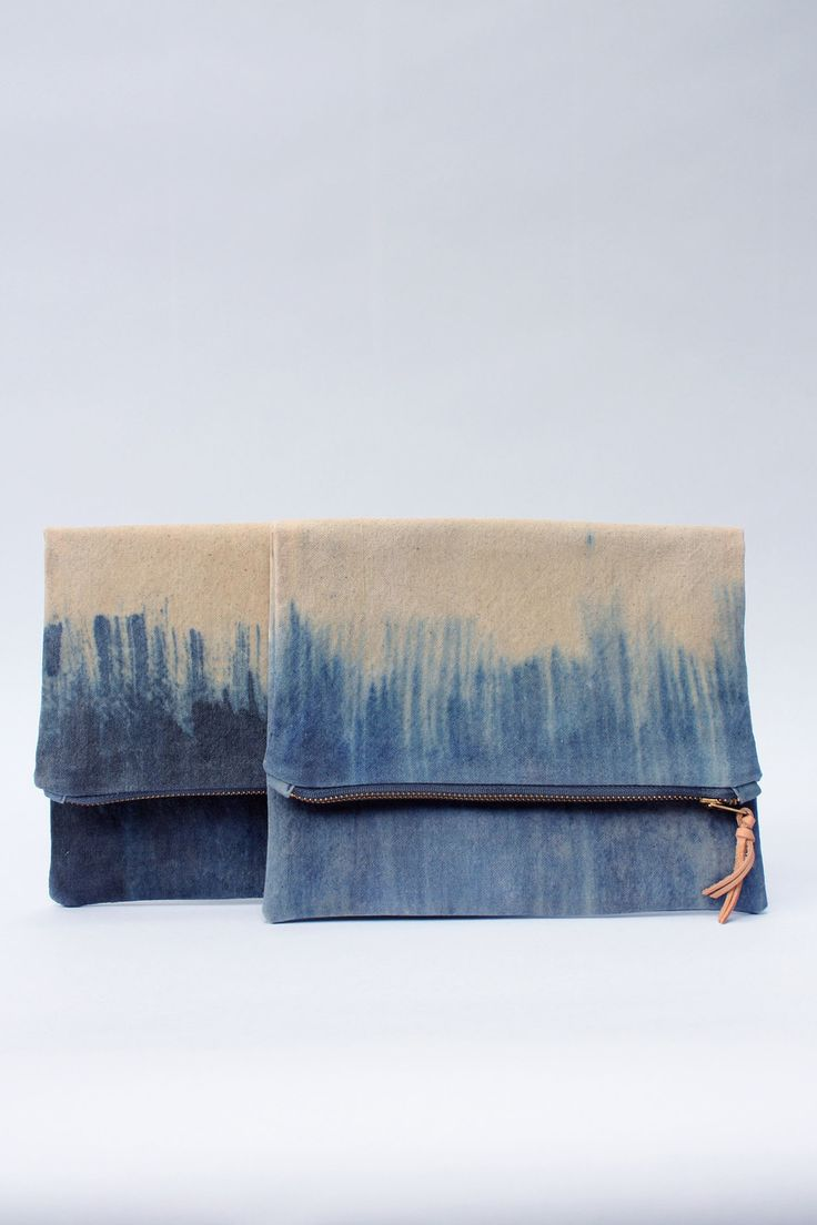 shibori denim clutch--very fine south