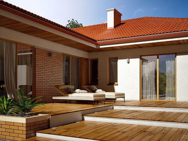 Ambrozja 5 (166,45 m2) to projekt domu parterowego, z piwnicą. Pełna prezentacja projektu na stronie: https://www.domywstylu.pl/projekt-domu-ambrozja_5.php.  #ambrozja #projekty #projekt #gotowe #typowe #domy #domywstylu #mtmstyl #home #houses #architektura #interiors #insides #wnętrza #aranżacje