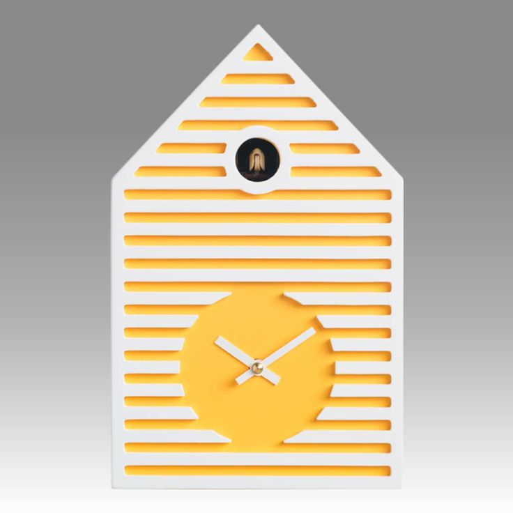 Contemporary cuckoo clock Art.beach 2597 lacquered with acrilic color yellow