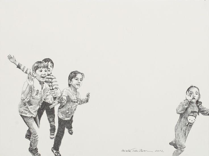 LOT 1 MIRELA TRĂISTARU My Little Girl's Friends [2012] Pencil on paper 28 × 38.5 cm (11 × 15.2 inch) Estimate €300 - €400 Starting price €280  http://lavacow.com/current-auctions/lavacow-autumn-auction/my-little-girl-s-friends.html