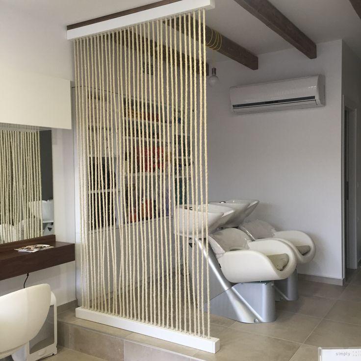 Simply Hair & Nails , κατασκευή διαχωριστικού τοίχου , με σχοινιά και λακαριστή βάση