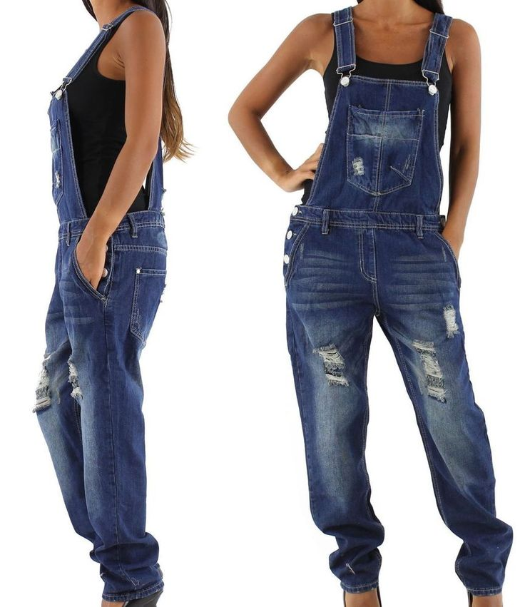 NEU Damen Latzhose Jeans Overall Jumpsuit Jeanshose Relaxed fit  34 36 38 40 42