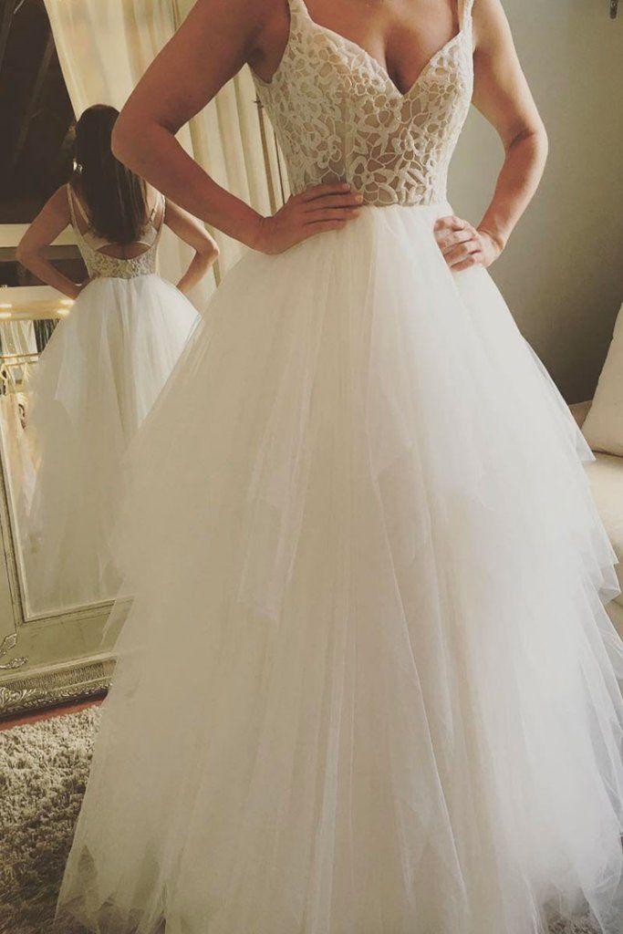 white v neck lace tulle long prom dress,