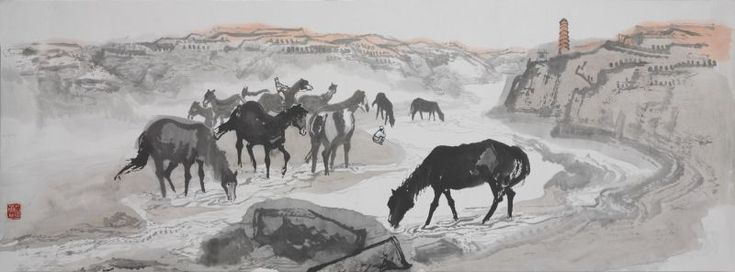 Shi Lu, Horses drinking at Yan River – draft 4 1960, ink and mineral pigments, National Museum of China, gift of Shi Lu's family, 2012.