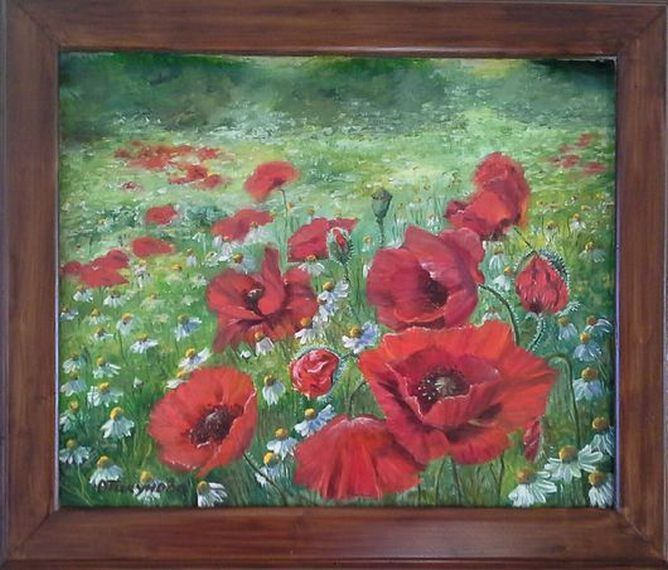 """Landscape Oil painting, oil on canvas, Handmade art """"Poppies in the field""""."""
