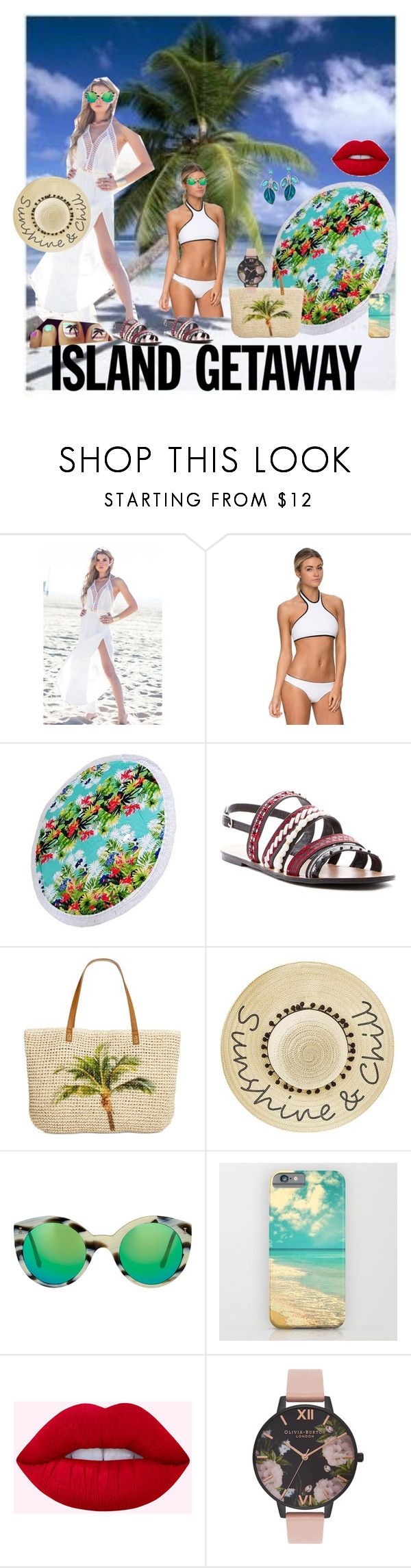 """""""loving the beach Island Getaway"""" by bluehatter ❤ liked on Polyvore featuring Chase & Chloe, Style & Co., Betsey Johnson, Illesteva and Olivia Burton"""