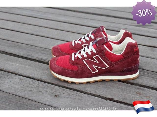 New Balance Sneakers 574 Vin Rouge Blanc Stocker New Balance M 574