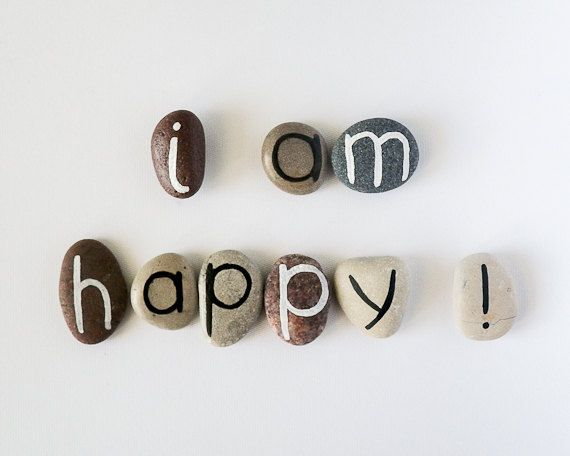 I am Happy, 9 Magnets Letters, Custom Quote, Beach Pebbles, Inspirational Word or Quote, Gift Ideas, Sea Stones, Personalized, Rocks on Etsy, $18.00