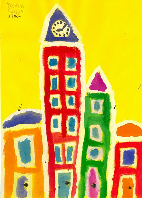 City Block Painting - Painting Lesson Plan for Children - KinderArt