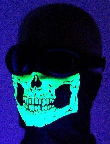 "Glow in the Dark Skull Face Mask Motorcycle Biker Bandana SCARF W Small 6x3.5"" My Skull Store http://www.shop.skullstore.com/"