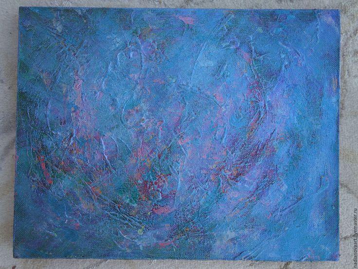 """Купить """"Безмятежность""""- умиротворяющая неоново-голубая абстракция - голубой, картина на холсте акрилом, абстракция голубая"""