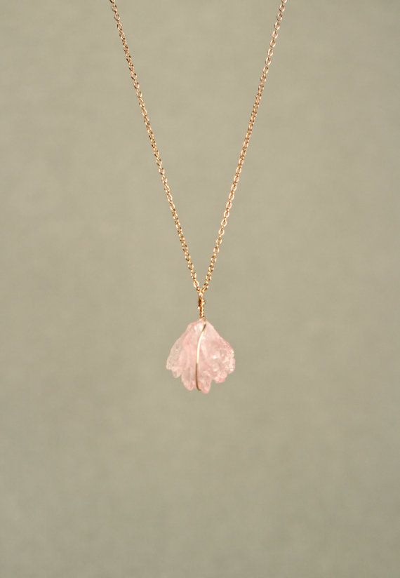 Rose quartz necklace - crystal necklace - The love stone - a raw rose quartz crystal on 14k gold vermeil or sterling silver chain