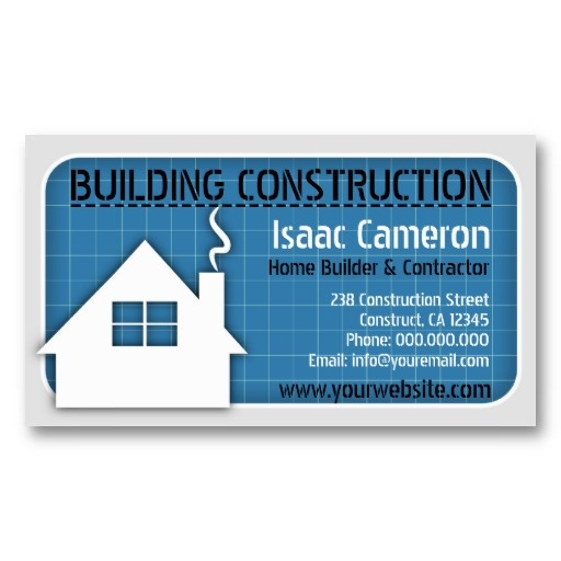 Blueprint professional construction business card home for Home builder business cards