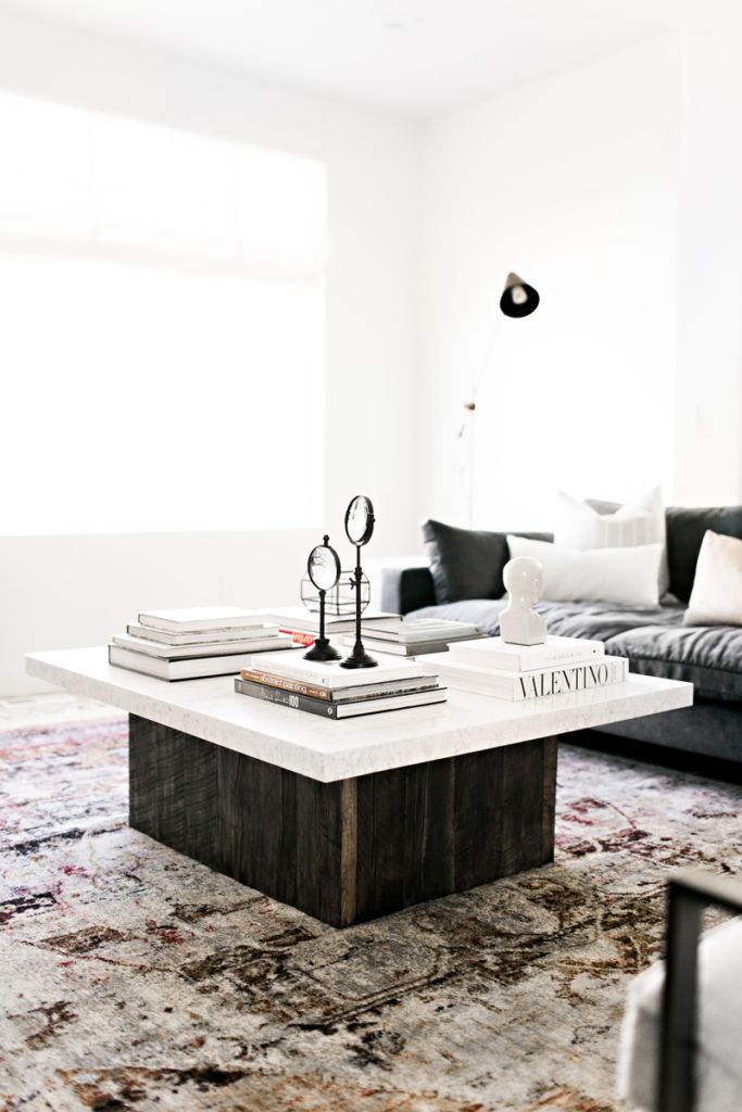 Living Room Interior Design Decor Modern Farmhouse Gallery Wall West Elm Restoration Hardware Coffee Table Marble Home