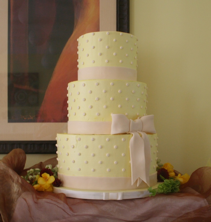 By Renay Zamora @ Sweetface Cakes.  Pale yellow-dotted wedding cake, private residence, Mount Juliet, TN.