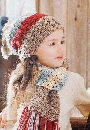 Вязание детской шапочки и шарфика. Шарф и шапочка для девочки крючком