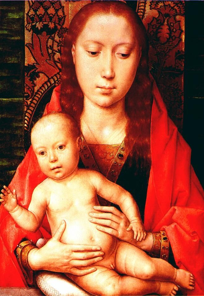 Ганс Мемлинг (нем. Hans Memling, 1433-1494). Мадонна с младенцем , Национальная галерея, Лондон