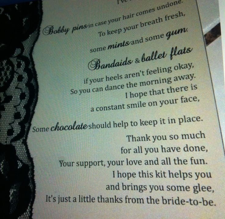poem to go in gift bag more gift bags bridesmaid poems wedding ...