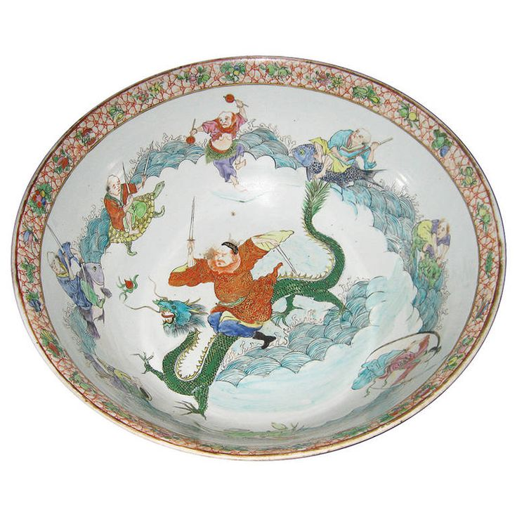 19th Century Chinese Porcelain Punch Bowl | From a unique collection of antique and modern ceramics at https://www.1stdibs.com/furniture/asian-art-furniture/ceramics/