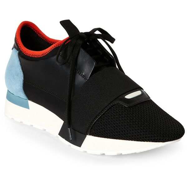 Balenciaga Black Race Runner Mixed Media Jogger Sneakers ($320) ❤ liked on Polyvore featuring shoes, sneakers, white, lacing sneakers, jogging sneakers, balenciaga sneakers, white shoes and lace up shoes