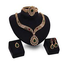 Módne Ženy Pozlátené drahokamu náhrdelník náramok svadobné Party šperky Set