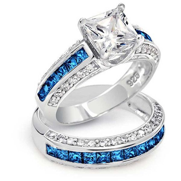 bling jewelry bling jewelry sapphire color cz princess cut wedding 51 - Colored Wedding Rings